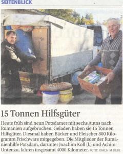 Rumänienhilfe Potsdam: Presse